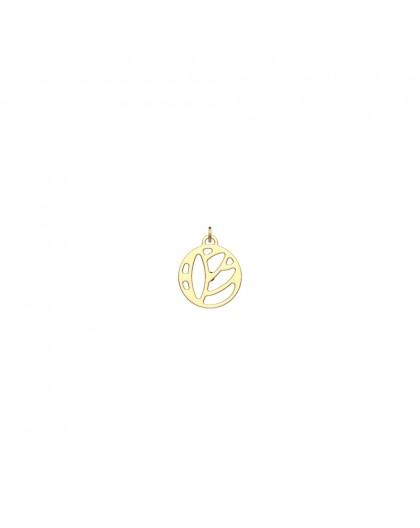 Pendentif Georgettes Lotus rond 16mm doré